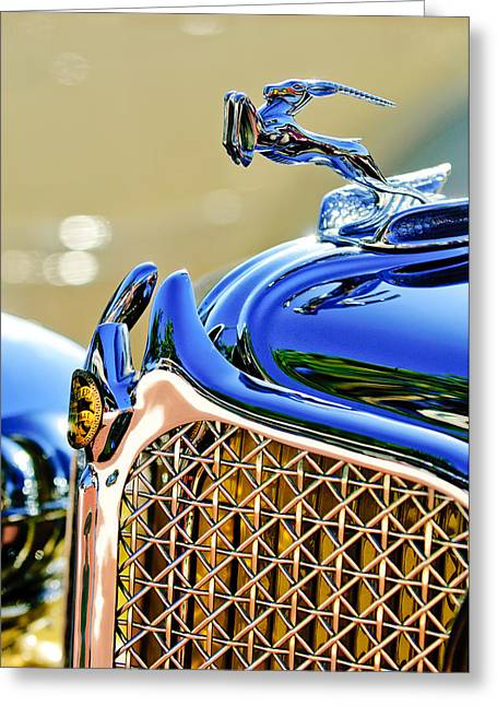 Cowling Greeting Cards - 1931 Chrysler CG Imperial Dual Cowl Phaeton Hood Ornament - Grille Greeting Card by Jill Reger