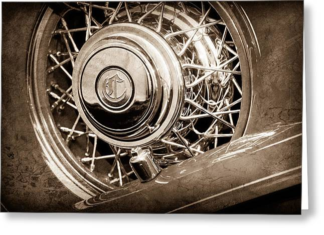 Dual Greeting Cards - 1931 Chrysler CG Imperial Dual Cowl Phaeton Spare Tire Emblem Greeting Card by Jill Reger