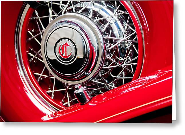 Dual Greeting Cards - 1931 Chrysler CG Imperial Dual Cowl Phaeton Spare Tire Greeting Card by Jill Reger