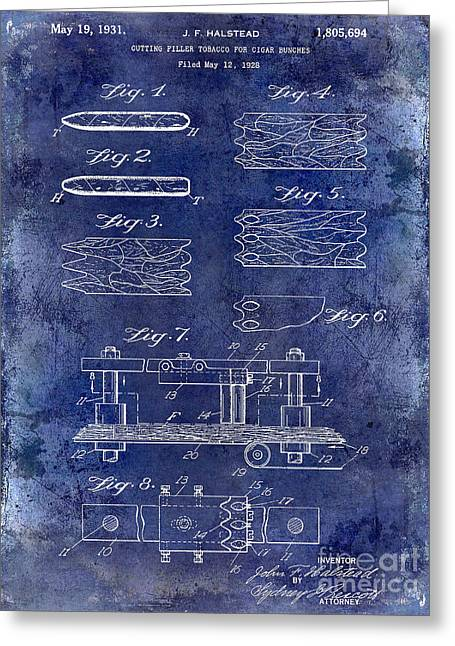 Cigar Greeting Cards - 1931 Cigar Filler Patent Drawing Blue Greeting Card by Jon Neidert