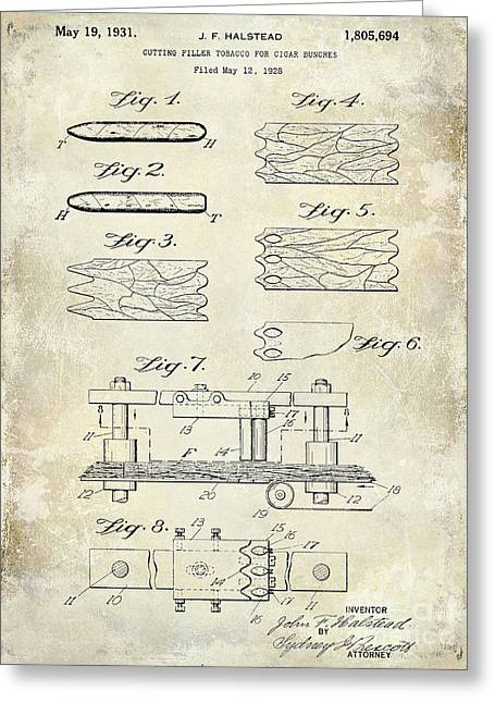 Cigar Greeting Cards - 1931 Cigar Filler Patent Drawing  Greeting Card by Jon Neidert