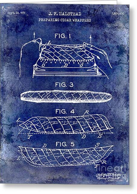 Cigar Greeting Cards - 1931 Cigar Wrappers Patent Drawing Blue Greeting Card by Jon Neidert
