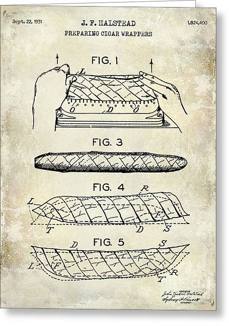 Cigar Greeting Cards - 1931 Cigar Wrappers Patent Drawing Greeting Card by Jon Neidert
