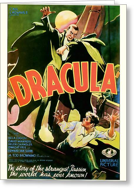 Suspense Mixed Media Greeting Cards - 1931 DRACULA Vintage Movie Art Greeting Card by Presented By American Classic Art