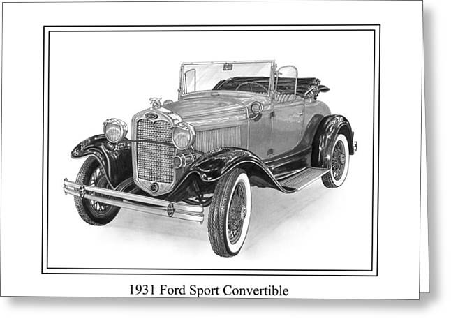 Pen And Ink Framed Prints Greeting Cards - 1931 Ford Convertible Greeting Card by Jack Pumphrey
