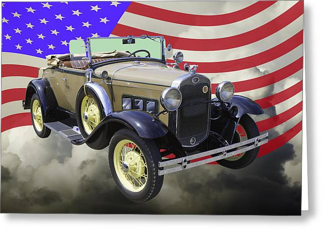 Antique Car Greeting Cards - 1931 Ford Model A Cabriolet And American Flag. Greeting Card by Keith Webber Jr