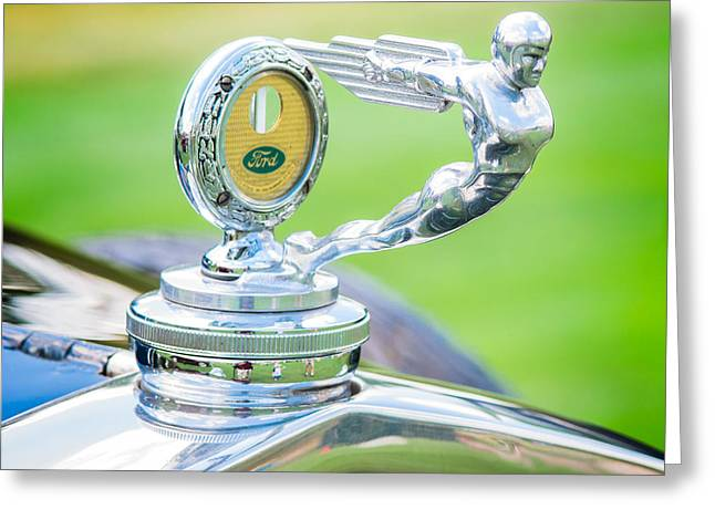 Man Photographs Greeting Cards - 1931 Ford Model A Deluxe Fordor Hood Ornament Greeting Card by Sebastian Musial