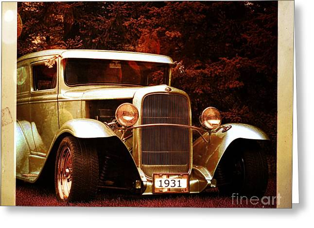 Collector Car Mixed Media Greeting Cards - 1931 Ford Panel Truck Greeting Card by M and L Creations