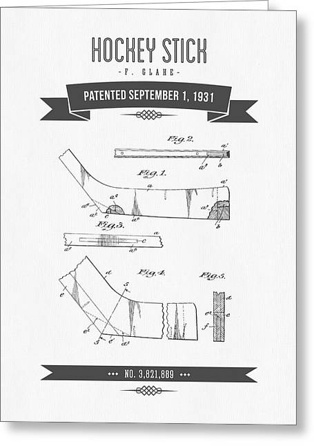 Hockey Player Greeting Cards - 1931 Hockey Stick Patent Drawing - Retro Gray Greeting Card by Aged Pixel