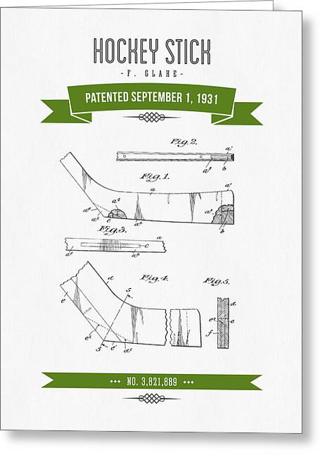 Hockey Player Greeting Cards - 1931 Hockey Stick Patent Drawing - Retro Green Greeting Card by Aged Pixel