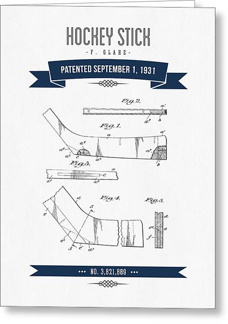 Hockey Player Greeting Cards - 1931 Hockey Stick Patent Drawing - Retro Navy Blue Greeting Card by Aged Pixel