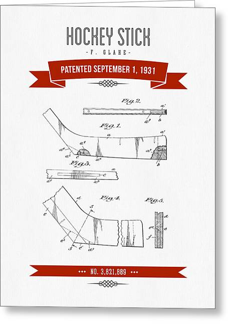 Hockey Player Greeting Cards - 1931 Hockey Stick Patent Drawing - Retro Red Greeting Card by Aged Pixel