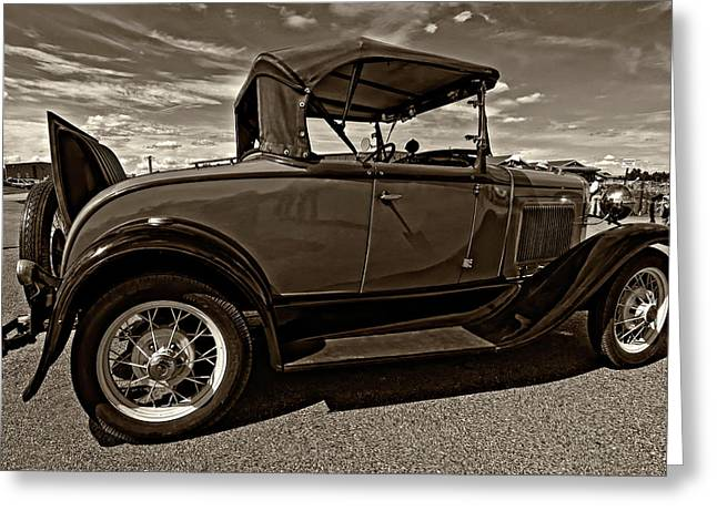Best Sellers -  - Ford Model T Car Greeting Cards - 1931 Model T Ford monochrome Greeting Card by Steve Harrington