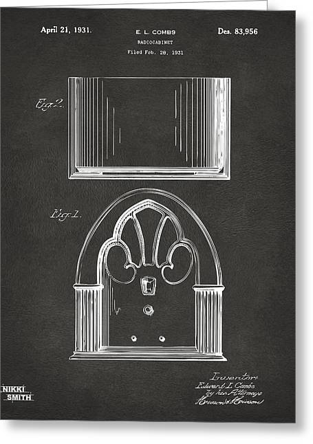 Gift For Greeting Cards - 1931 Philco Radio Cabinet Patent Artwork - Gray Greeting Card by Nikki Marie Smith