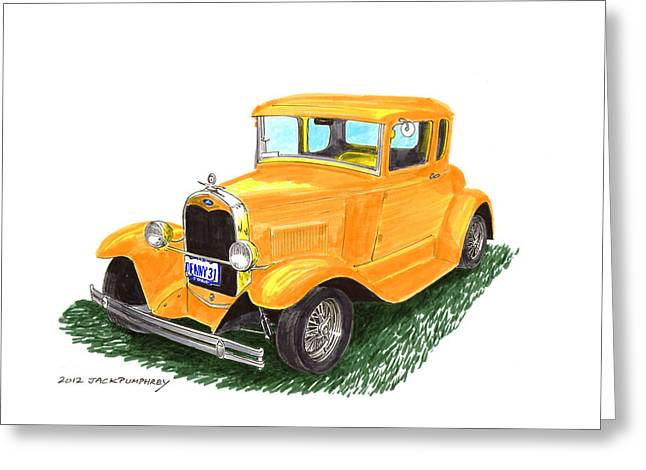 Pen And Ink Framed Prints Greeting Cards - 1931 Yellow Ford Coupe Greeting Card by Jack Pumphrey