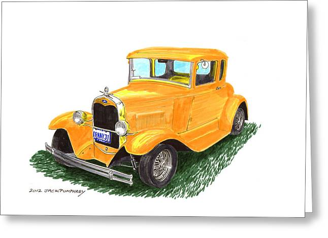 Pen And Ink Framed Prints Paintings Greeting Cards - 1931 Yellow Ford Coupe Greeting Card by Jack Pumphrey