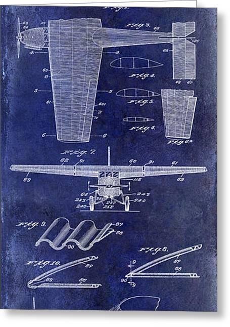 Blue Airplane Greeting Cards - 1932 Airplane Patent Drawing Blue1932 Airplane Patent Drawing Blue Greeting Card by Jon Neidert