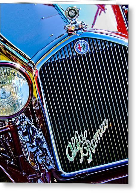 1750 Greeting Cards - 1932 Alfa Romeo 6C 1750 Series V Gran Sport Grille Emblems Greeting Card by Jill Reger