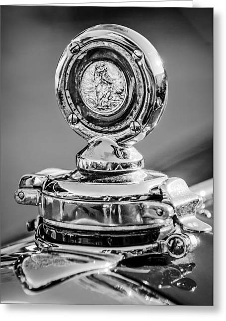 1750 Greeting Cards - 1932 Alfa Romeo 6C 1750 Series V Gran Sport Hood Ornament -0240bw Greeting Card by Jill Reger