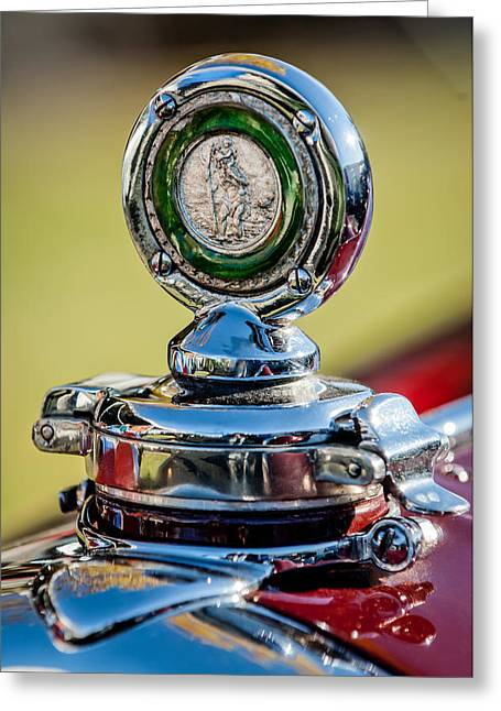 Vintage Hood Ornament Greeting Cards - 1932 Alfa Romeo 6C 1750 Series V Gran Sport Hood Ornament -0240c Greeting Card by Jill Reger
