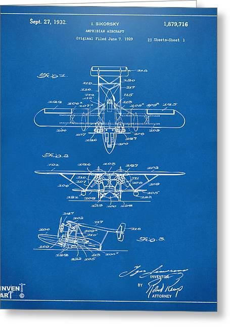 Famous Aviators Greeting Cards - 1932 Amphibian Aircraft Patent Blueprint Greeting Card by Nikki Marie Smith