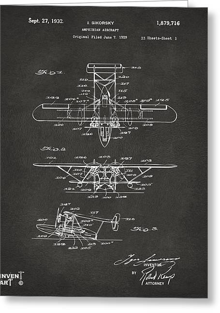 Famous Aviators Greeting Cards - 1932 Amphibian Aircraft Patent Gray Greeting Card by Nikki Marie Smith