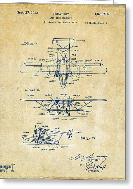 Famous Aviators Greeting Cards - 1932 Amphibian Aircraft Patent Vintage Greeting Card by Nikki Marie Smith