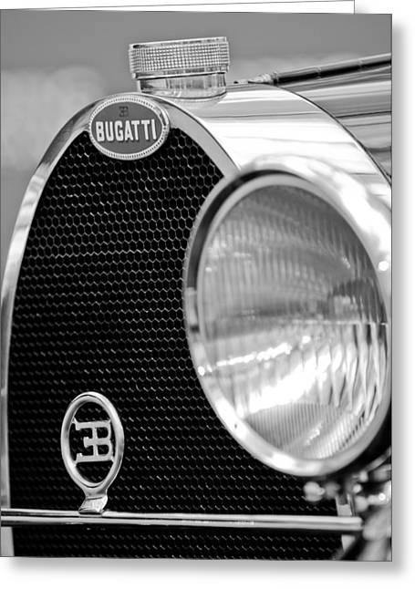 Bugatti Vintage Car Greeting Cards - 1932 Bugatti Type 55 Cabriolet Grille Emblems Greeting Card by Jill Reger