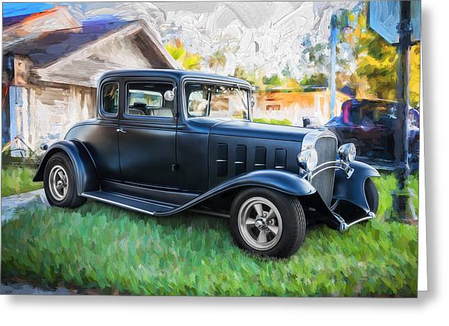 Hot Rodder Greeting Cards - 1932 Chevrolet 5 Window Coupe Painted Greeting Card by Rich Franco