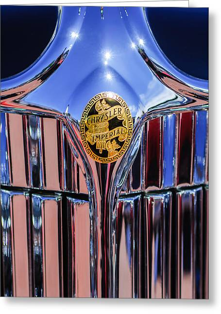 1932 Greeting Cards - 1932 Chrysler CH Imperial Cabriolet Grille Emblem Greeting Card by Jill Reger
