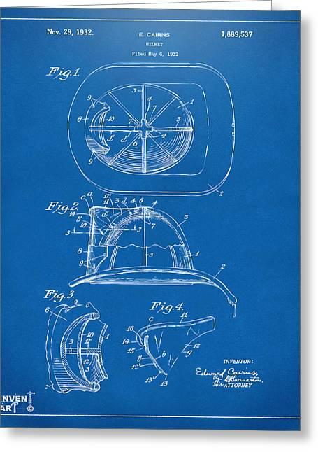 Fire Fighter Greeting Cards - 1932 Fireman Helmet Artwork Blueprint Greeting Card by Nikki Marie Smith