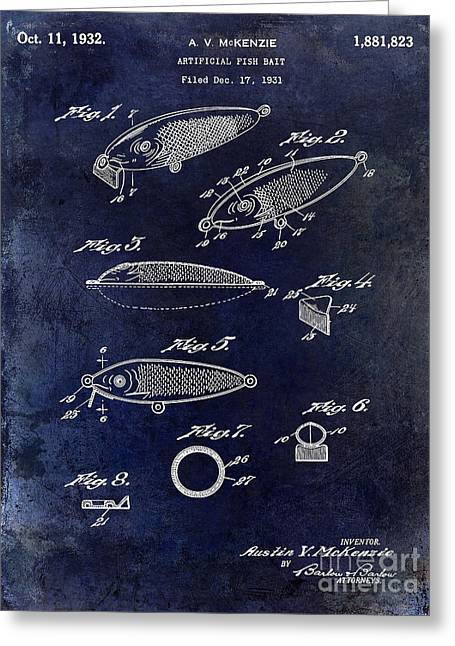 Trout Fishing Greeting Cards - 1932 Fishing Patent Drawing Blue Greeting Card by Jon Neidert