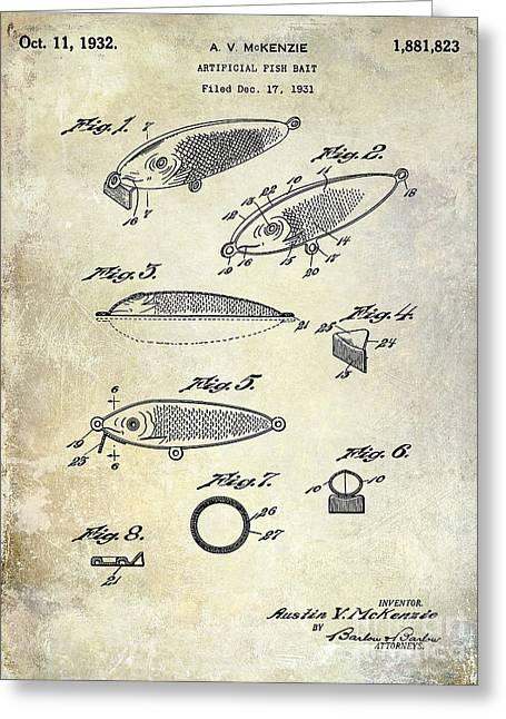 Trout Fishing Greeting Cards - 1932 Fishing Patent Drawing  Greeting Card by Jon Neidert