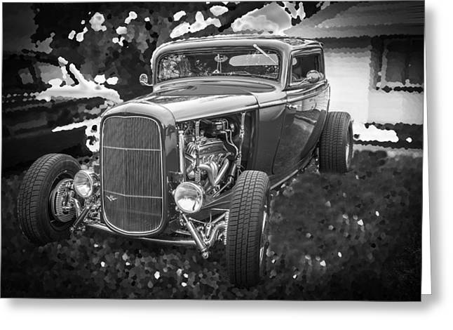 1932 Ford Greeting Cards - 1932 Ford Coupe BW Greeting Card by Rich Franco