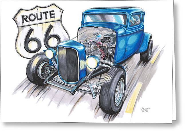 Highway Drawings Greeting Cards - 1932 Ford Cruising Route 66 Greeting Card by Shannon Watts
