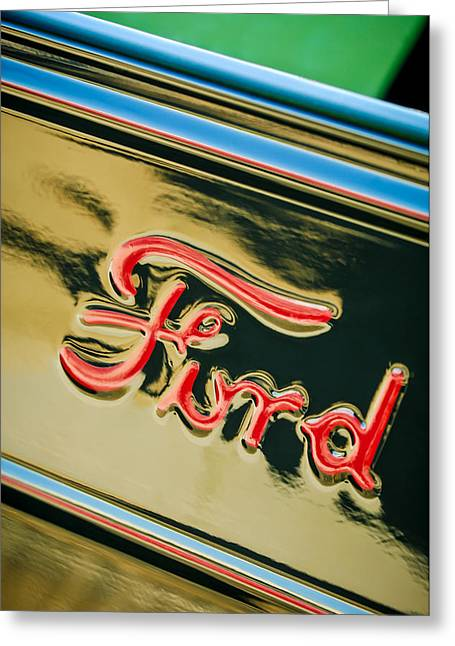 1932 Ford Greeting Cards - 1932 Ford Emblem - 0751c Greeting Card by Jill Reger
