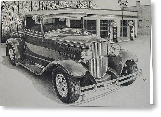 Classic Pickup Drawings Greeting Cards - 1932 Ford Pickup Greeting Card by Ben Liles