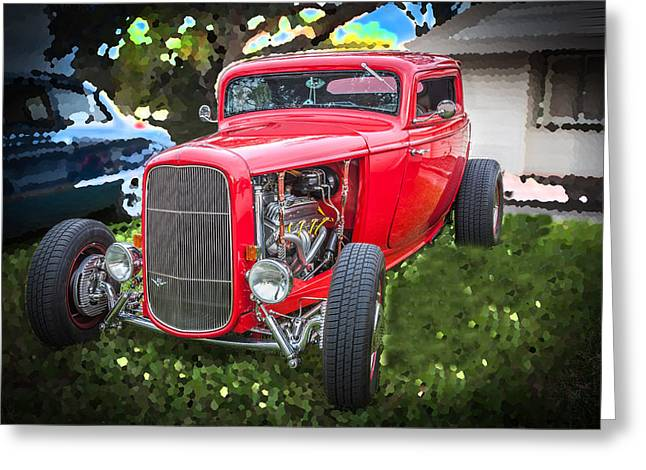 1932 Ford Greeting Cards - 1932 Ford Red Coupe  Greeting Card by Rich Franco