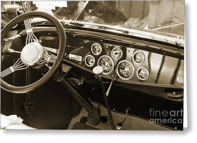 Peddle Car Greeting Cards - 1932 Ford Roadster Interior Automobile Classic Car in Sepia  306 Greeting Card by M K  Miller