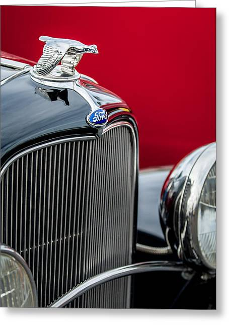 1932 Ford Greeting Cards - 1932 Ford V8 Grille - Hood Ornament Greeting Card by Jill Reger