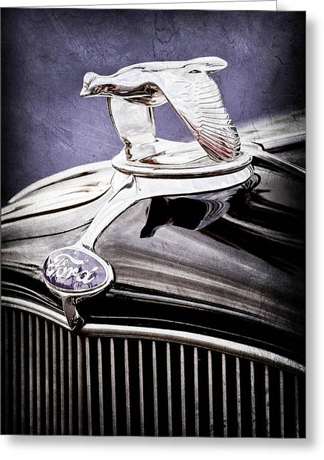 1932 Ford Greeting Cards - 1932 Ford V8 Hood Ornament - Emblem Greeting Card by Jill Reger