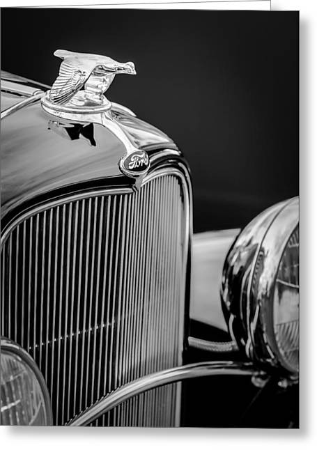 1932 Ford Greeting Cards - 1932 Ford V8 Hood Ornament - Grille Emblem Greeting Card by Jill Reger
