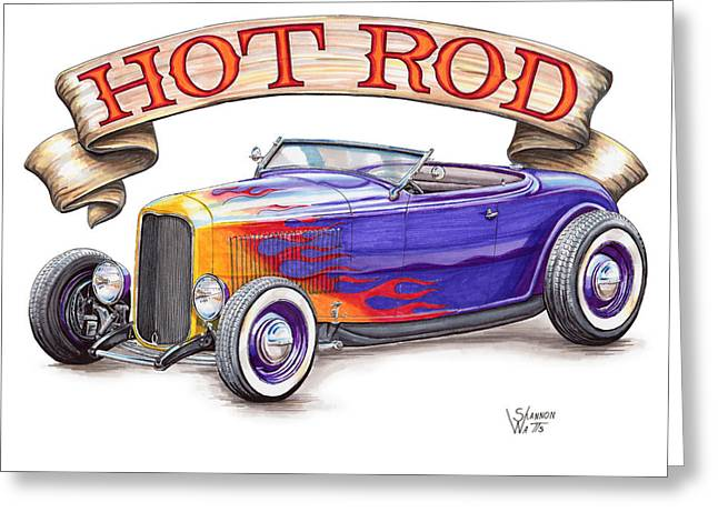 1932 Ford Greeting Cards - 1932 Hot Rod Roadster Greeting Card by Shannon Watts