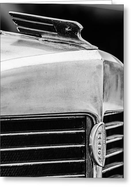 1932 Greeting Cards - 1932 Marmon Sixteen LeBaron Victoria Coupe Hood Ornament - Grille Emblem - 1904BW Greeting Card by Jill Reger