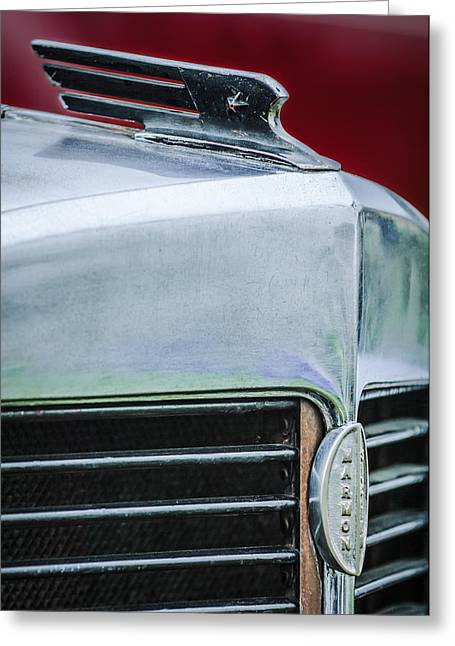 1932 Greeting Cards - 1932 Marmon Sixteen LeBaron Victoria Coupe Hood Ornament - Grille Emblem - 1904C Greeting Card by Jill Reger