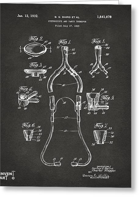 Doctors Office Greeting Cards - 1932 Medical Stethoscope Patent Artwork - Gray Greeting Card by Nikki Marie Smith