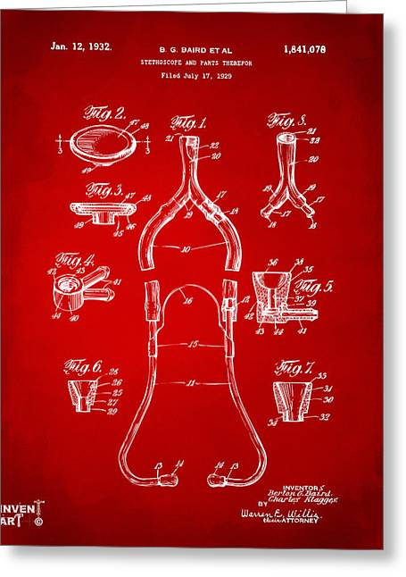 Stethoscope Greeting Cards - 1932 Medical Stethoscope Patent Artwork - Red Greeting Card by Nikki Marie Smith