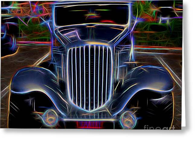 Valuable Greeting Cards - 1932 Nash Coupe Antique Car - Neon 2 Greeting Card by Gary Whitton