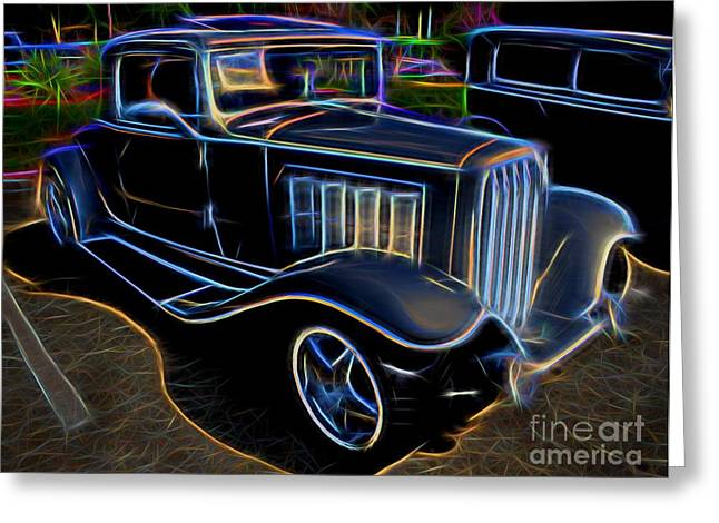 Decadence Greeting Cards - 1932 Nash Coupe Antique Car - Neon Greeting Card by Gary Whitton