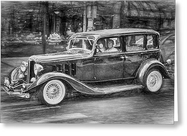 1932 Nash Sedan Greeting Card by John Haldane